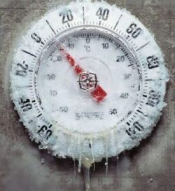 image of a frozen thermometer